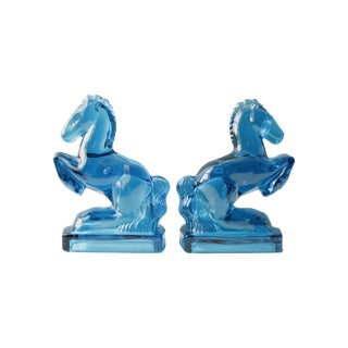 Mid-Century Blue Glass Horse Bookends- A Pair