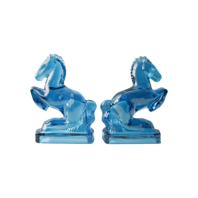 Image of Mid-Century Blue Glass Horse Bookends- A Pair