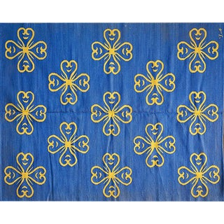 "Blue & Yellow Contemporary ""Fleur"" Rug - 6′ × 7′9″"