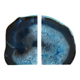Deep Blue Crystal Rock Geode Bookends - a Pair