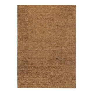 Contemporary Hand Woven Gold Silk & Wool Rug - 12' X 18'