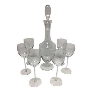 Vintage Etched Crystal Decanter & 6 Glasses