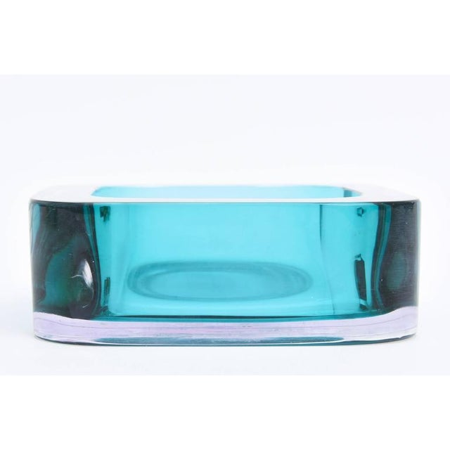 Image of Italian Flat Cut Polished Cenedese Sommerso Square Glass Bowl