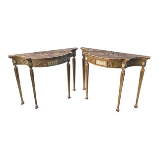 19th Century Pair of English Adam Style Consoles