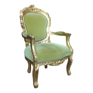 Victorian Green Velvet Glitwood Arm Chair
