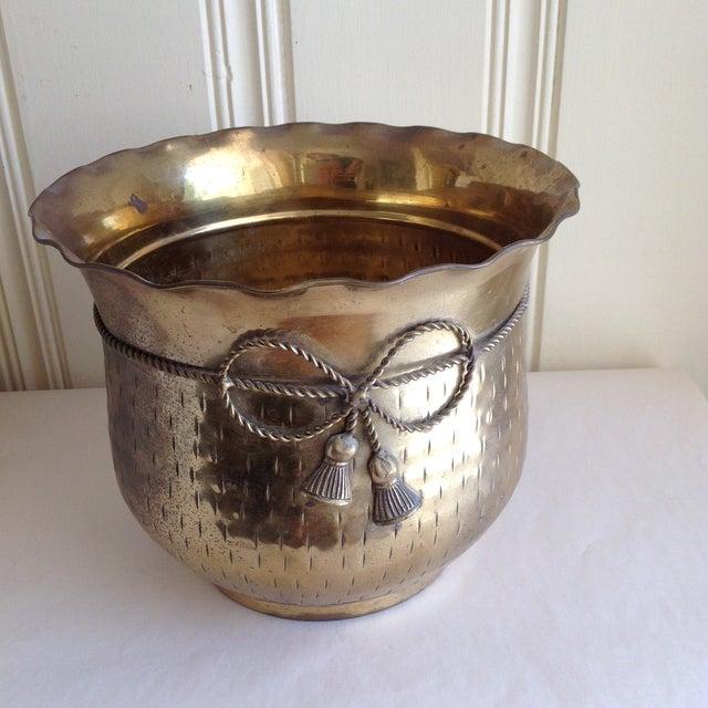 Vintage Etched Metal Brass Vessel - Image 2 of 9