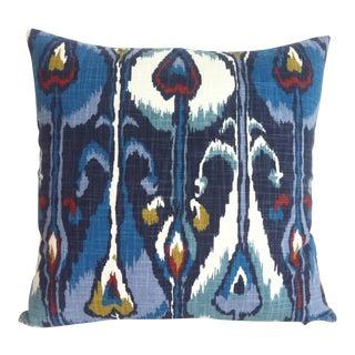 Indigo Ikat Robert Allen Zipper Pillow Cover