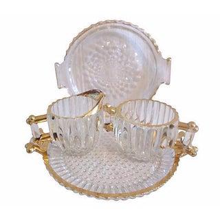 Mid-Century Gold & Glass Serving Set - 4 Pcs