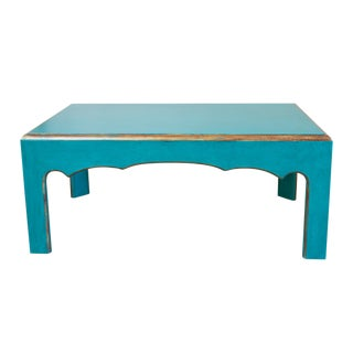 Cool Teal-Painted Coffee Table