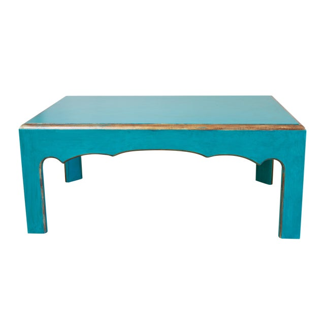 Cool teal painted coffee table chairish for Teal coffee table