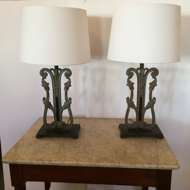 Rustic Vintage Iron Lamps - A Pair - Image 2 of 6