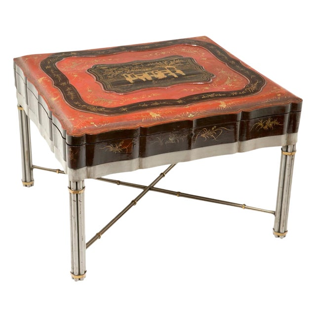 Chinese Lacquered & Gilt Robe Box on later stand - Image 1 of 2