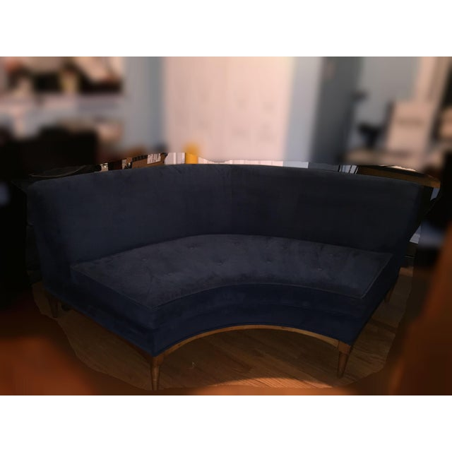 Mid-Century Modern Blue Three-Piece Sectional - Image 3 of 11