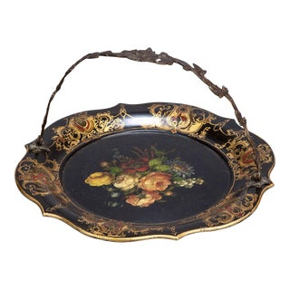 19th Century Flowered PaperMache Plate