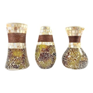 Stained Glass Mosaic Vases W/Seashell Tiles and Rope – 3 Vase Set