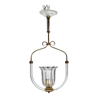 Barovier and Toso Murano Glass Tulip Pendant Light Hanging Fixture