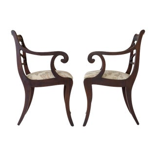 Regency Scrolled Armchairs - A Pair