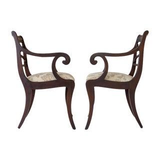 Regency Scrolled Armchairs - A Pair