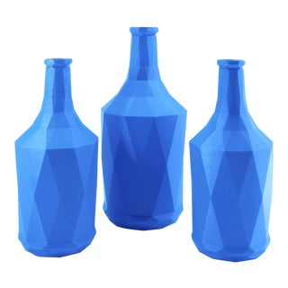 Polygon Bottle Vase Sky Blue -- Set of 3