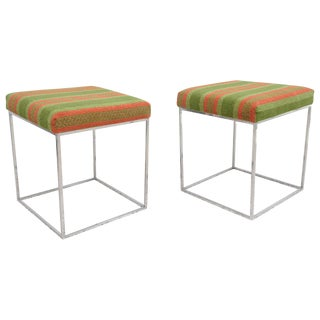 1970s Milo Baughman Mid-Century Polished Chrome Thin Line Stools - A Pair