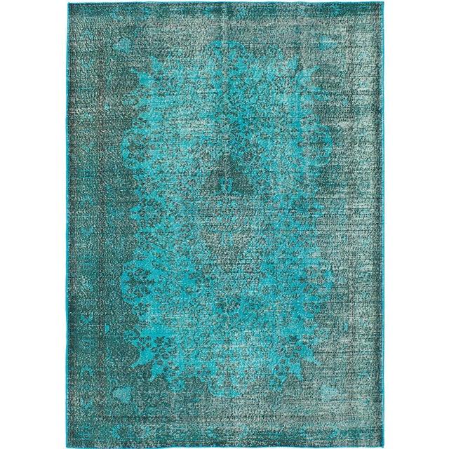 Vibrant Turquoise Overdye Rug - 6′4″ × 9′3″ - Image 1 of 3