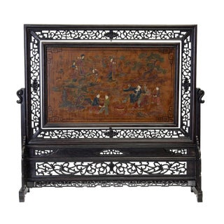 Chinese Lacquer Table Top Screen
