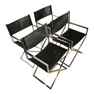 Mid-Century Modern Chrome Director's Chairs - S/4