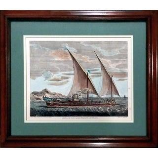 """Antique """"Galere a la Voille"""" Ship Engraving"""