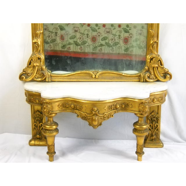 19th c pier mirror marble top console table chairish for Table th width ignored