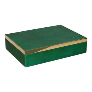 Genuine Shagreen Decorative Box in Vibrant Green with Brass Accent