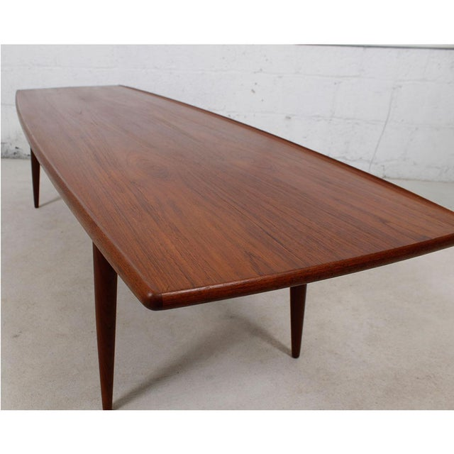 Long Danish Modern Teak Surfboard Coffee Table - Image 4 of 7