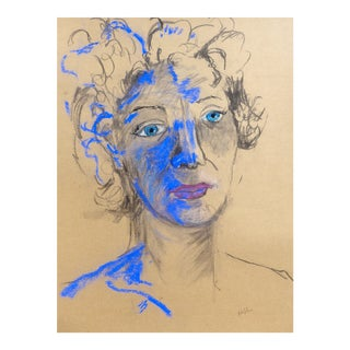 Blue Lady Charcoal and Pastel by Martha Holden