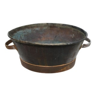 19th C. French Antique Oval Metal Planter