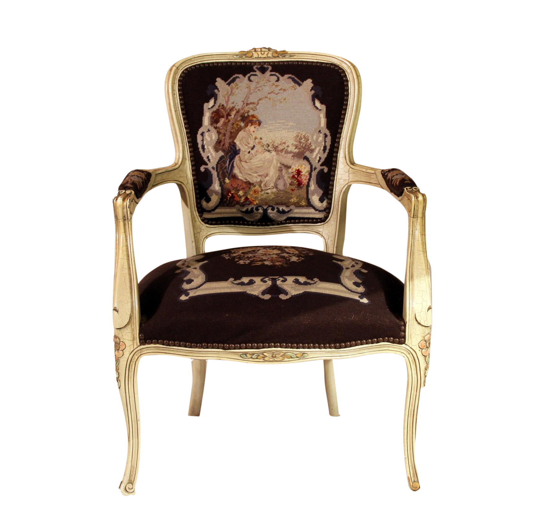 Charming Antique French Louis XV Needlepoint Chair