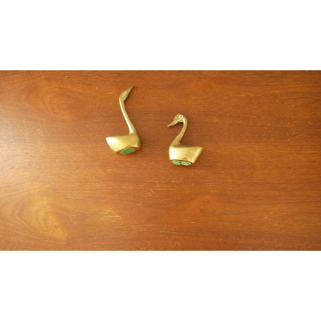 Mini Brass Swans - A Pair - Image 3 of 4