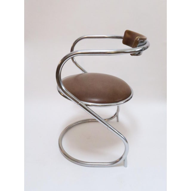 Chrome Deco Faux Leather Accent Chair - Image 3 of 7