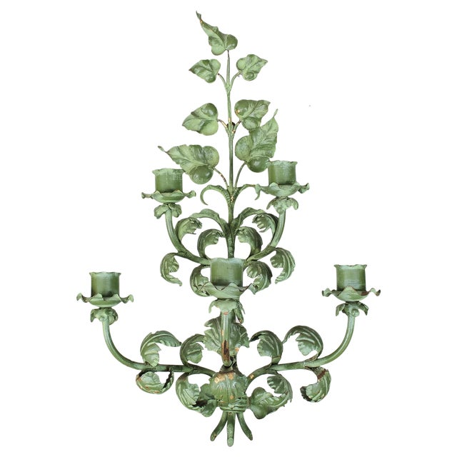 Italian Baroque Green Gilt Candelabra/Wall Sconce - Image 1 of 8