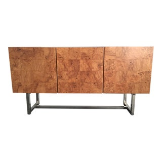 Burl Wood and Chrome Sideboard Credenza by Milo Baughman