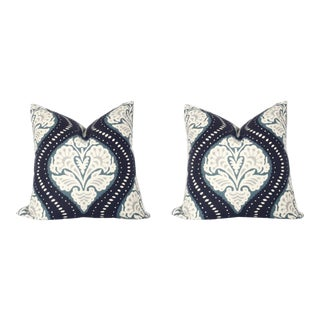 Custom Blue & Gray Ogee Print Pillows - A Pair