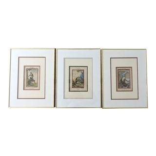 Antique 'Three Monkeys' Copper Plate Engraving Pictures - Set/3