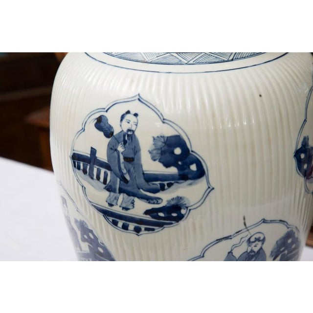 Image of Pair of Chinese Blue and White Lamps