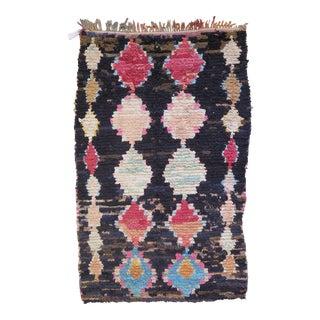 Vintage Moroccan Boucherouite Black Rug - 3′8″ × 6′2″