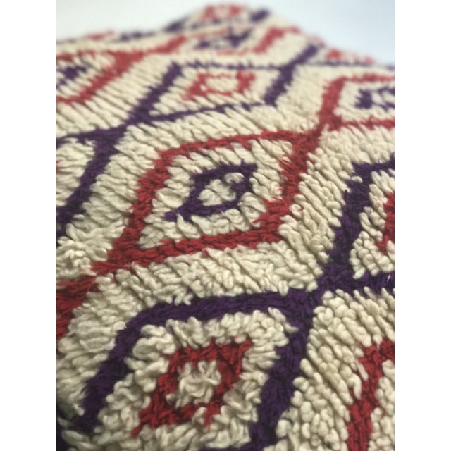 Vintage Moroccan Wool Stuffed Pouf - Image 6 of 7