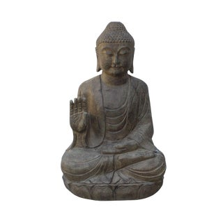 Chinese Oriental Stone Sitting Buddha Amitabha Shakyamuni Statue