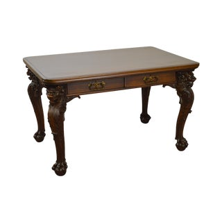 Antique Mahogany Carved Lion Head Library Table Writing Desk