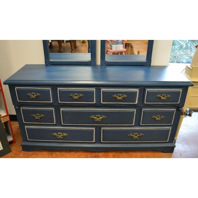 Mirrored 8-Drawer Navy Blue Dresser - Image 3 of 11