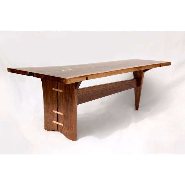 Mid-Century Modern Walnut Live Edge Slab Coffee Table - Image 2 of 6