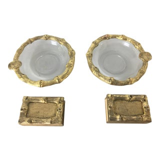 Gilt Faux Bamboo Ashtray & Matchboxes - A Pair