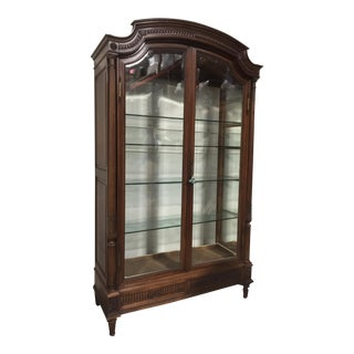 Neoclassical Style Walnut Display Cabinet