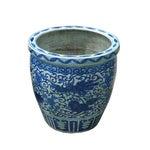 Image of Blue And White Phoenix Porcelain Round Planter Pot